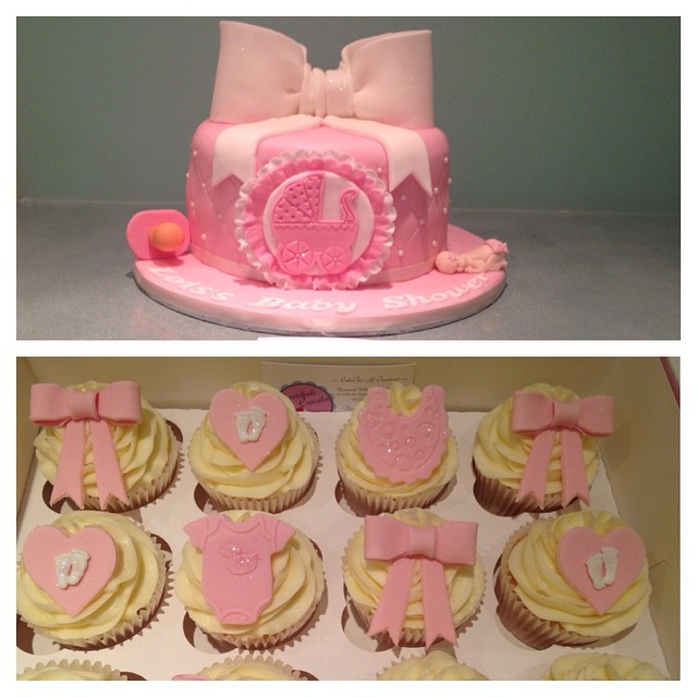 week ago by eatsweetcheeks It's a girl. Baby shower cake and cupcakes ...